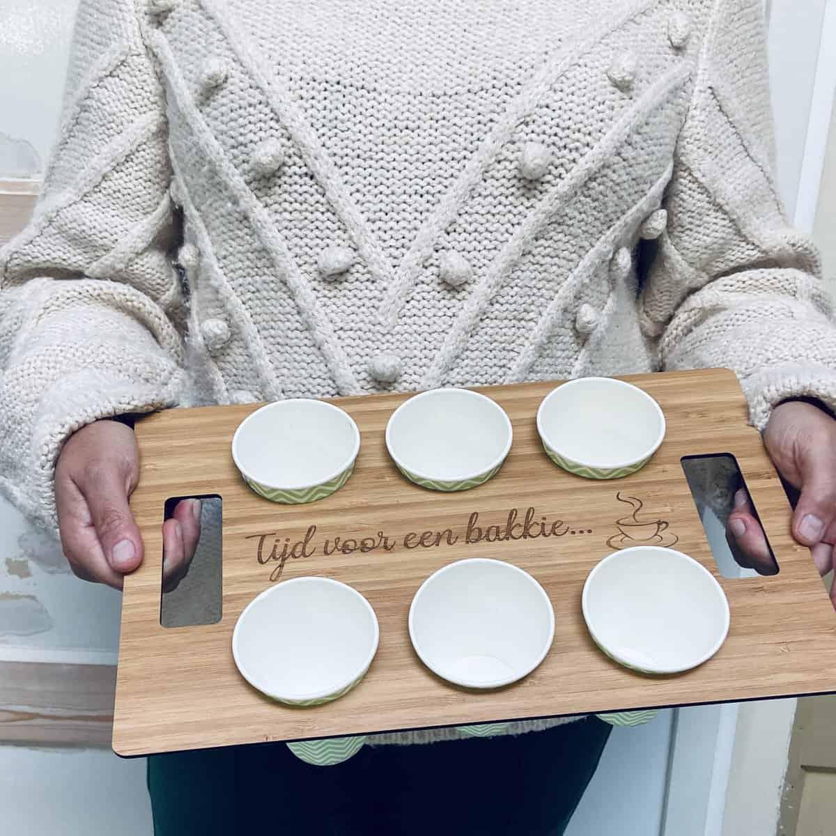 koffie tray met gravure