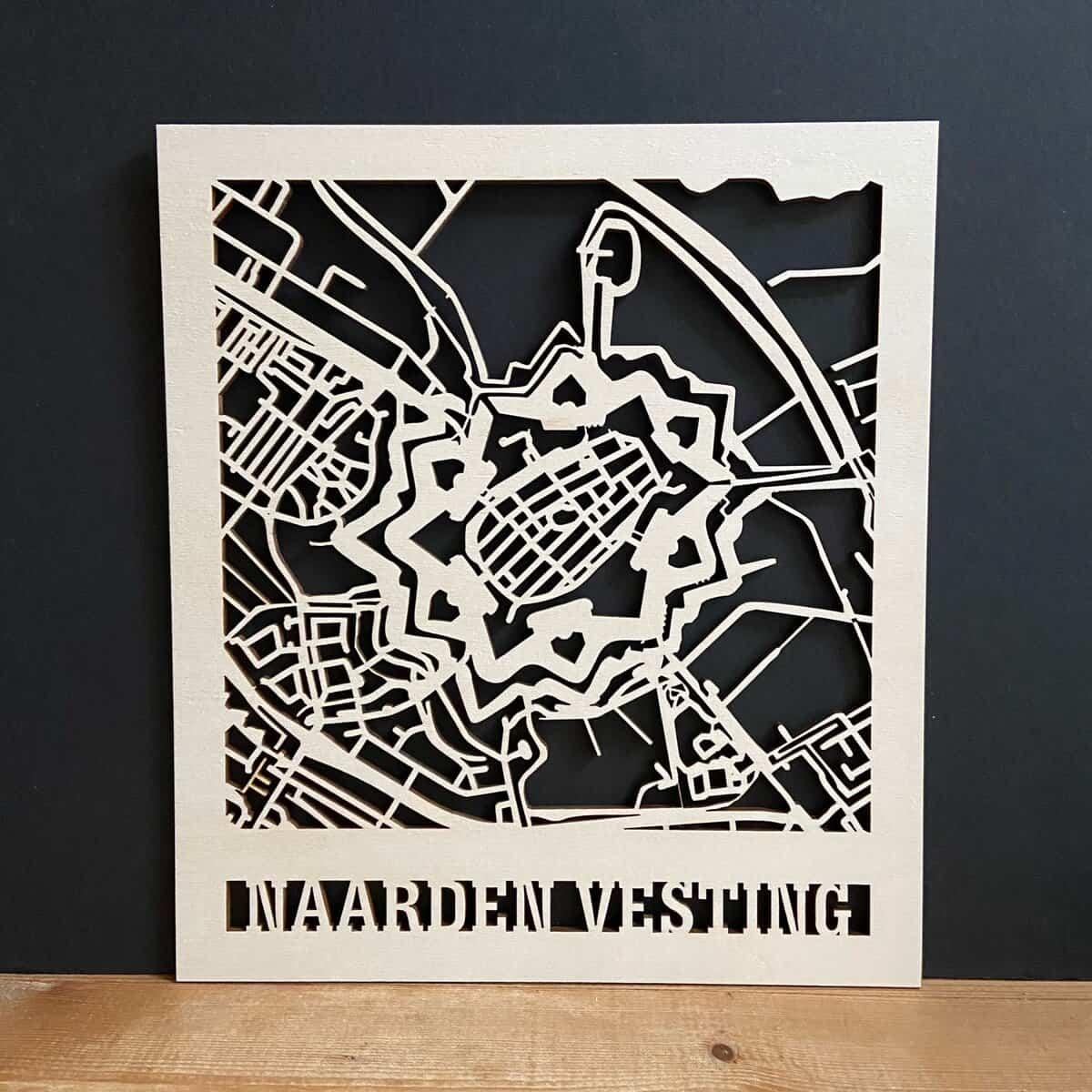 lasergravure van plattegrond naarden vesting